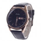 Haibo 6364 Fashionable Dual Calendar Display Men's Quartz Wrist Watch - Black + Golden (1 x LR626)
