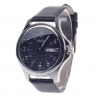 Haibo 6363 Stylish Dual Calendar Display Women's Quartz Analog Wrist Watch - Black + Silver