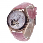 Haibo 6368 Stylish Head Layer Cowhide Band Women's Automatic Mechanical Wristwatch - Pink + Golden