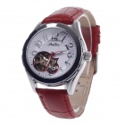 Haibo Fashionable Head Layer Cowhide Band Women's Automatic Mechanical Wristwatch - Red + Silver