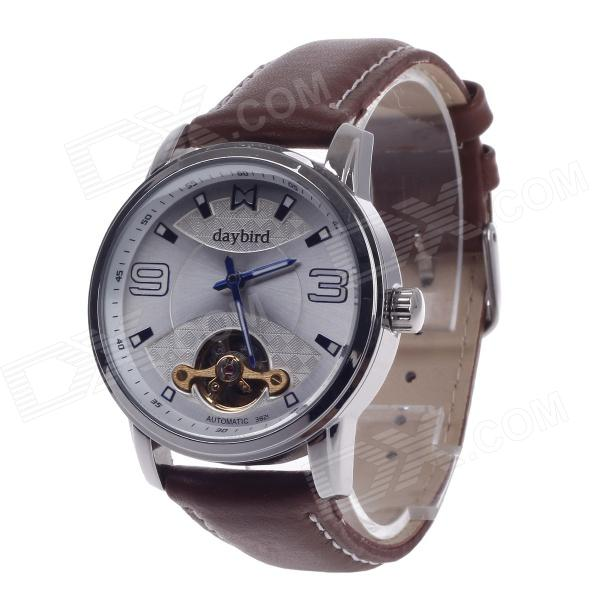 DayBird 3821 Stylish Head Layer Cowhide Band Automatic Mechanical Wrist Watch - Brown + Silver 100% genuine leather watch band strap 20mm 22mm 24mm brown black woman man watchbands watch belts high quality ouyawei