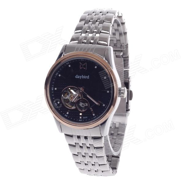 Daybird Stylish Hollow Out Style Stainless Steel Band Men's Automatic Mechanical Wrist Watch - Black