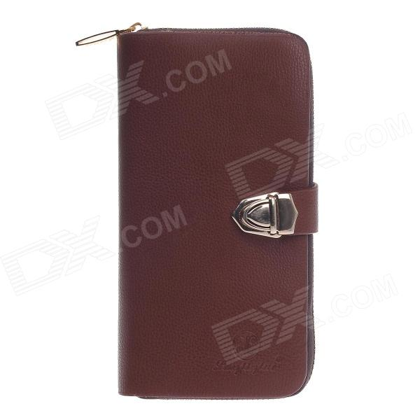 Fashionable Multi-functional Cow Split Leather Men's Wallets w/ 14 Card Ports - Brown
