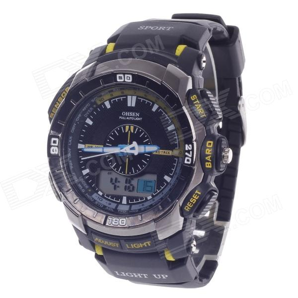 OHSEN AD1308 Men's Sport Analog + Digital Quartz Wrist Watch - Black + Yellow (1 x CR-2025)