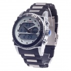 WEIDE WH-2316 Men's Quartz & LED Electronics Dual Time Display Wrist Watch - Black + Silver + White