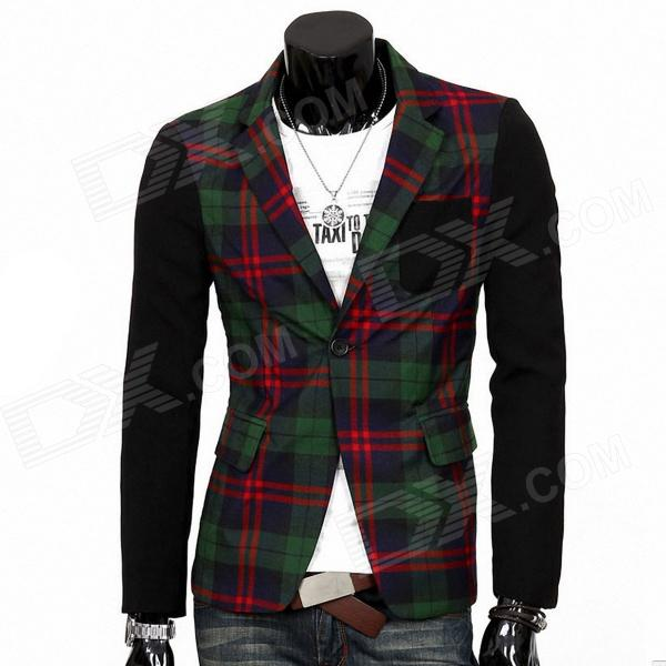 England Style Slim Fit Plaid Suit - Green + Red (Size-L)