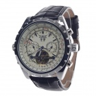 JARAGAR Date Display Mechanical Men's Watch - Black + Silver + Beige