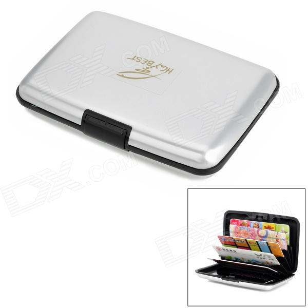 HGYBEST Multifunction Water Resistant Business Credit Card Holder Case w/ 7 Slots - Black + Silver
