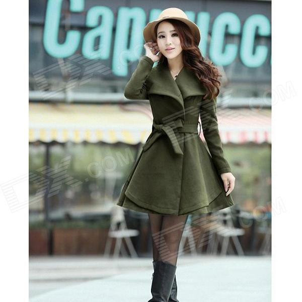 Fashionable Women's Large Lapel Slim Fit Coat - Army Green (Size-M)