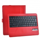 Detachable Wireless Bluetooth V3.0 84-key Keyboard w/ PU Leather Case for iPad 2 / 3 / 4 - Red