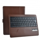Detachable Wireless Bluetooth V3.0 84-key Keyboard w/ PU Leather Case for Ipad 2 / 3 / 4 - Brown