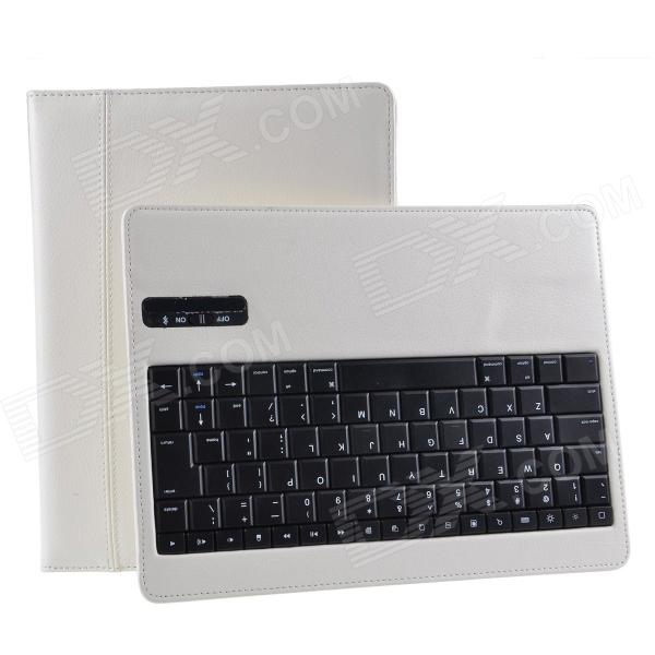 Detachable Wireless Bluetooth V3.0 84-key Keyboard w/ PU Leather Case for Ipad 2 / 3 / 4 - White 84 key bluetooth v3 0 keyboard w detachable pu case for ipad air green