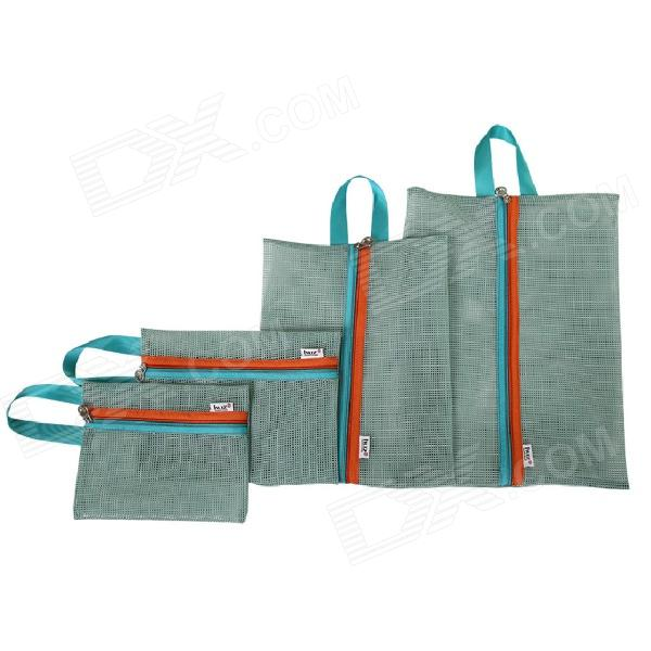 Mesh Style Portable Outdoor Travel Nylon Zipper Storage Bag - Blue (4 PCS)