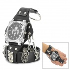 Cool Stainless Steel Leather Band Quartz Analog Wrist Watch for Men - Black + Silver + Multicolored