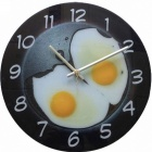 PIGU TM12027 Delicious Omelette Style Mute Wall Clock - White + Black + Yellow