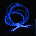 PZCD PZ-47 Micro USB macho a USB 2.0 Male Data Sync / cable de carga w / luz LED azul - Blue
