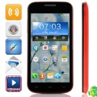 """K606 MTK6572 Dual-core Android 4.2.2 GSM Bar Phone w/ 4.5"""", Quad-Band, 4GB ROM, GPS - Black + Red"""