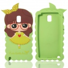 Cute 3D Girl Style Protective Silicone Back Case for Samsung Galaxy Note 3 N9000 - Green