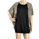 BWB001 Fashion Bat-Sleeve Cotton Shirt for Women - Black + Brown