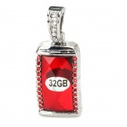 Stylish Crystal Pendant USB 2.0 Flash Drive  - Silver + Red (32GB)