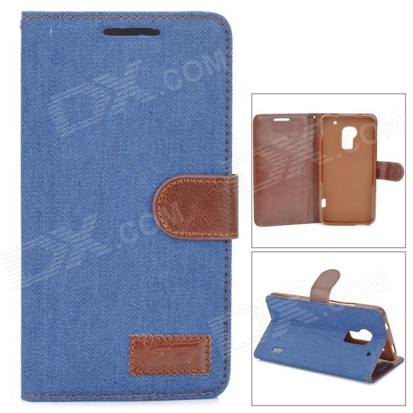 Denim Fabric Style Protective PU Leather Case for HTC One Max T6 - Dark Blue small holes style protective pe back case for htc one x s720e purple