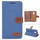 Denim Fabric Style Protective PU Leather Case for HTC One Max T6 - Dark Blue