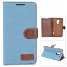 Denim Fabric Style Protective PU Leather Case for HTC One Max T6 - Blue