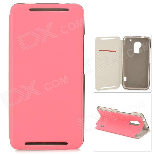 Stylish Protective PU Leather Case for HTC One Max T6 - Pink protective pvc back case for htc one x s720e deep pink