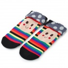 MG-01 Cute Mushroom Head + Smiley Pattern Cotton Warm Socks for Women - Multicolored (Pair)