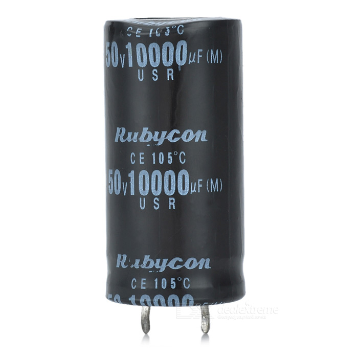 10000UF/50V Electrolytic Capacitor - BlackDIY Parts &amp; Components<br>TypeCapacitorQuantity1 DX.PCM.Model.AttributeModel.UnitForm ColorBlackMaterialABS housingEnglish Manual / SpecYesOther FeaturesApplication temperature: 105 centigrade; Long use life, high accuracy, good performanceCertificationCEPacking List1 x Capacitor<br>