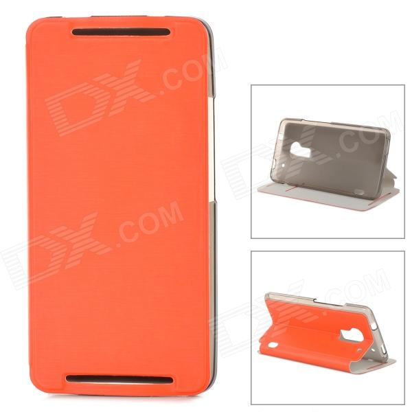 Stylish Protective PU Leather Case for HTC One Max T6 - Orange stylish s pattern protective tpu back case for htc one max t6 8088 809d blue