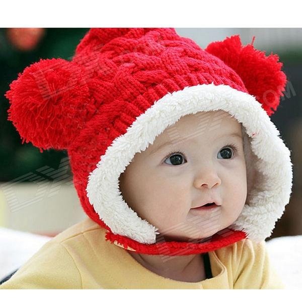 Fashion Warm Woolen Hat w/ 2-Balls for Kids - Red + White - DXCaps/Hats<br>Suitable for baby from 8 months to 4 years old; Cute and warm; Comfortable to wear.<br>