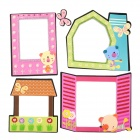 PPT1001-1011 Removable Cute Photo Frame Living Room Wall Sticker - Pink + Green