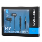 OVLENG Stylish In-Ear Earphones w/ Microphone for Samsung / Iphone / HTC - Black + Silver
