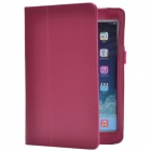 Lichee Pattern PU Protective Case w/ Stand for Retina Ipad MINI - Purplish Red