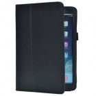Lichee Pattern PU Protective Case w/ Stand for Retina Ipad MINI - Black