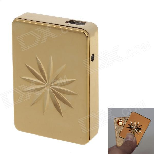 SHAYU USB Rechargeable Windproof Zinc Alloy Electronic Cigarette Lighter - Golden fly eagle fe808 usb rechargeable electronic cigarette lighter keychain green