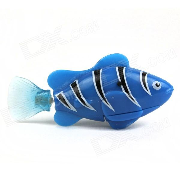 Flash ROBO Flash Electric Pet Fish Toy - Blue + Black + White (2 x L1154) robo fish shark style electronic fish toy green white 2 x lr44