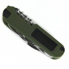 13-in-1 Multifunctional Knife w/ Compass / Light - Green + Silver (2 x CR2016)