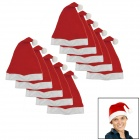 YUSHAN Stylish Nonwoven Christmas Hat - Red + White (10 PCS)