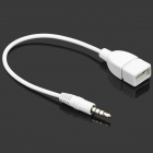 3.5mm Male to USB Female Car AUX Audio Cable - White + Silver (24CM)