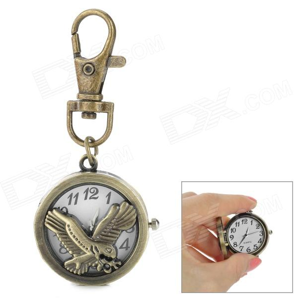 Fashion Mini Keyring Style Eagle Pattern Case Zinc Alloy Band Quartz Analog Pocket Watch - Bronze old antique bronze doctor who theme quartz pendant pocket watch with chain necklace free shipping