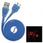 USB 3.0 to Micro USB 9-Pin Data/Charging Cable w/ Smiley Face Light for Samsung Galaxy Note 3 - Blue