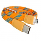 Nylon Woven Micro USB Male to USB 2.0 Male Data Sync / Charging Cable for Samsung / HTC - Yellow