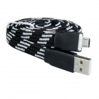 Nylon Woven Micro USB Male to USB 2.0 Male Data Sync / Charging Cable for Samsung / HTC - Black