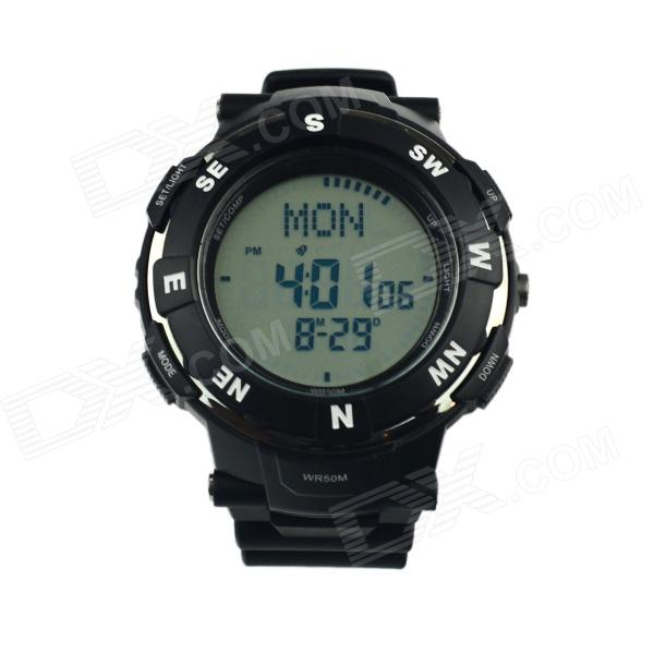 Multifunctional Waterproof Outdoor Sport Quartz Digital Wrist Watch w/ Compass - Black (1 x CR2016) skmei fashionable waterproof led digital wrist watch w compass black 1 x cr2016