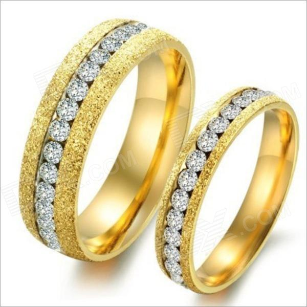 GJ362 Grind Arenaceous Rhinestones 316L Stainless Steel Couple's Rings - Golden (Size 9 + 7 / 2 PCS) купить