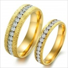 GJ362 Grind Arenaceous Rhinestones 316L Stainless Steel Couple's Rings - Golden (Size 9 + 7 / 2 PCS)