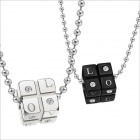 GX309 Dice Rhinestones LOVE 316L Stainless Steel Couple's Necklaces - Black + Silver (2 PCS)