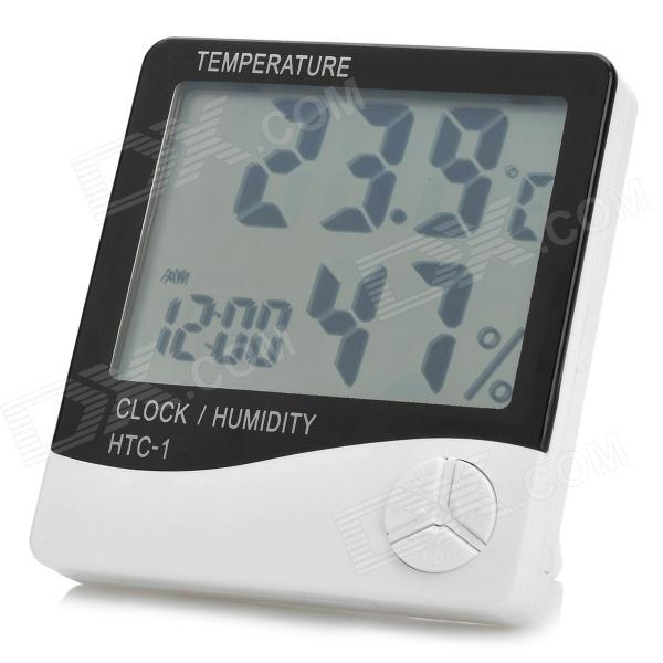 elonbo HTC-1 3.9 LCD Digital Temperature Humidity Meter w/ Alarm Clock - White (1 x AAA) pro s kit nt 311 3 8 lcd digital temperature humidity meter white deep grey 1 x aaa